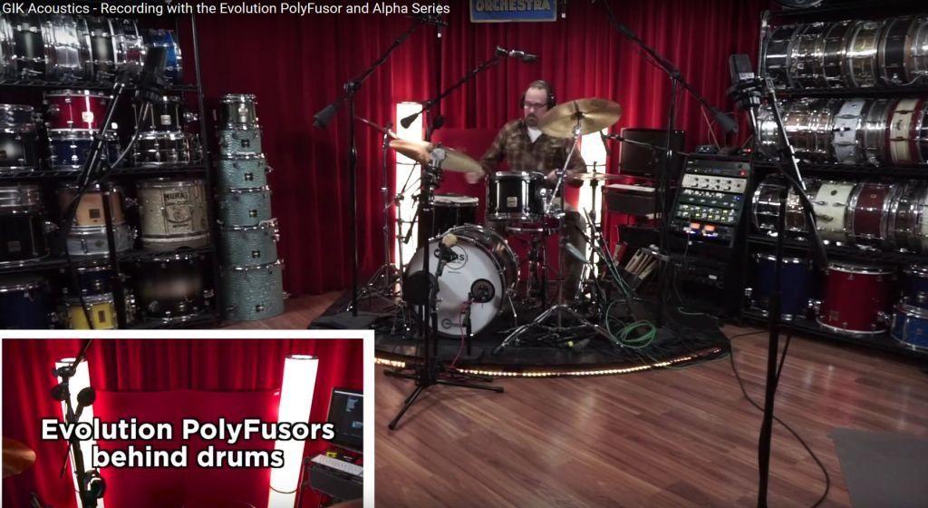 Dylan Wissing GIK PolyFusors recording drum video