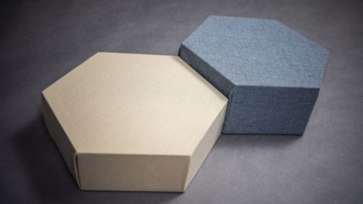 Different heights hexagon decoshapes acoustic panels