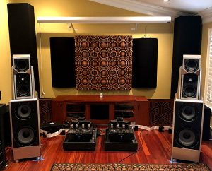 "GIK Acoustics Gotham N23 5"" Quadratic Diffusors with Impression Series and Soffit Bass Traps in corners of 2 channel listening room"